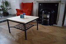Industrial Look Square Coffee Table - Handmade - Metal & wood - Natural vintage