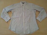 Mens Polo Ralph Lauren Dress Shirt L Large Custom Blue Stripes Button Cotton