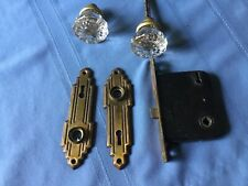Vintage Decorative Glass & Brass Door Knobs, with Lock and Brass Plates
