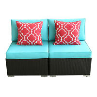 HTTH 2PCS Outdoor Patio Armless Sofa Chairs Rattan Wicker Loveseat with Cushions