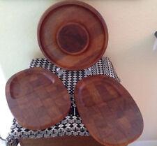 DANSK TEAK LOT~ Round Parquet Cutting Board Tray + 2 Individual Snack Platters