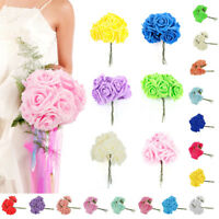 10pcs Artificial Foam Roses Flowers With Stem Wedding Bride Bouquet Home Decor