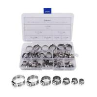 Eowpower 70Pcs 7-21mm Stainless Steel 304 Single Ear Hose Clamps Assortment Kit