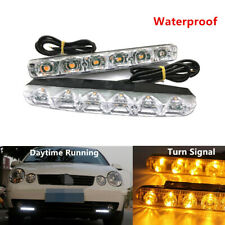 2Pcs 6 LED DRL Car SUV Daytime Running Light White Bulb w/Amber Turn Signal Lamp