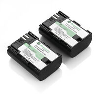 2x LP-E6 2600mAh Battery for Canon EOS 5D Mark II III 6D 7D 60D 70D DSLR Camera