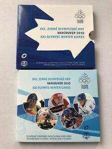 2010 Slovak Euro Coins Vancouver XXI Olympic Winter Games Coin Set with Token