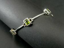 Bracelet Green Peridot Rectangle Stones Sterling Silver 925 Link BRACELET