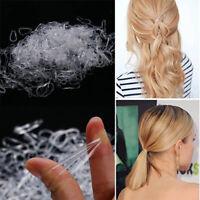 500Pcs Women Girl Clear Ponytail Holder Elastic Hair Bands Rubber Hair Ties