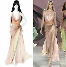 runway VERSACE SS06 sunset ombre pleated draped silk maxi gown dress IT44 US8