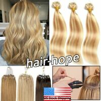Micro Ring Beads Loop Tip 100% Real Remy Brazilian Human Hair Extensions 100200S