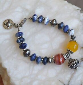 Statement bracelet, gemstone bracelet, lapis bracelet, tribal, agate (B363)