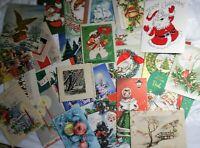 Lot 25 VTG MCM Christmas Cards Deco Santa Snowy Houses Bells Churches Candles