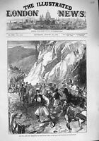 Old Antique Print 1876 War Arms Ammunition Servian Army Belgrade Horses 19th