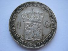Netherlands 1939 silver 1 Gulden VF cleaned/scratches to both sides