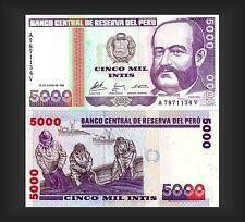 BANCONOTA BANCO CENTRAL DE RESERVA DEL PERÙ 5000 Intis 1988-conservazione TOP