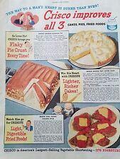 1946 Crisco Flaky Pie Crust Mocha Nut Layer Cake Recipe Veil Cutlet Food Ad