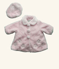 Jingles baby girls pink fur coat and hat - age 6 months