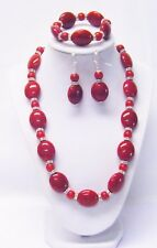 "Red Oval and Round Acrylic Bead Necklace/Bracelet/Earrings (20.5"",Silver Plated)"