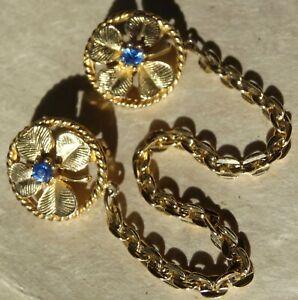 vintage blue rhinestone flower double sweater clip chain link  brooch -Z176