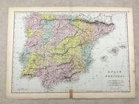 1891 Antik Map Of Spanien Und Portugal Alte Europa 19th Jahrhundert Original