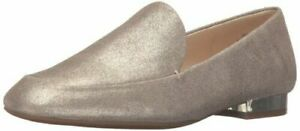 Nine West Womens Xalan Leather Square Toe Loafers Tan Glitter Gold Size 10 NEW