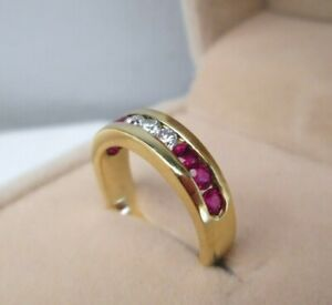 18ct Yellow Gold Natural Brilliant Cut Diamond & Ruby Channel Eternity Ring J