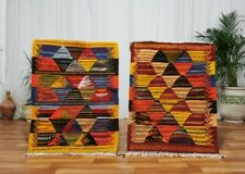 "Set of two Moroccan minutes Handmade Sahara Rugs 2'5""x3'3 Berber Tribal Wool Rug"