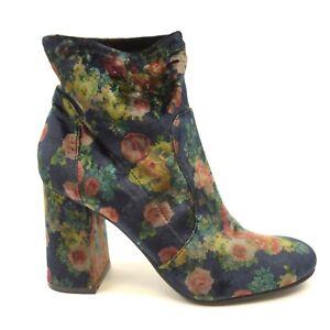 Abound Womens Izzie Lush Floral Velvet Pull-On Block Heel Boots US 7.5 EU 38