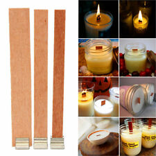 10X Wooden Wood Candles Core Wick With Iron Stands Making Supplies Favour 6 Size