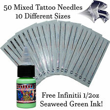 50 Mixed Sterile Tattoo Needles - RL RS RM and M1 w FREE Seaweed Green 1/2oz Ink