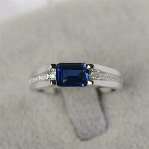 925 Sterling Silver Certified Natural BlueSapphire Handmade Ring Gift Free Ship