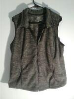 St Johns Bay Womens Fleece Vest Gray Size XL Zips Up W/ Pockets EUC