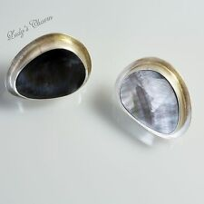 Designer Amy Faust Black Mother Of Perl Sterling Silver Earrings