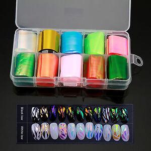 Random Color 10PCS Nail Art  Sticker On Cellophane Glitter Film Foils for tips