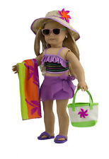 """MangoPeaches -18"""" DOLL SWIMSUIT SUIT- 8 Pc DELUXE - Tropical Swimsuit - Fits AGD"""