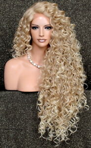Human Hair Blend Full Lace Front wig Long Tight Curly Blonde Heat OK DOM 27-613