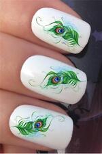 I trasferimenti di acqua per unghie piume di pavone coda SPLAT BG Tattoo Decalcomanie Adesivi * 613