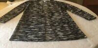 Chico's Open Front Long  Black and White Cardigan  Size 2 Used