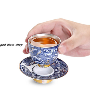 silver tea cup porcelain cup saucer handpainted kungfu cup with coaster sea wave