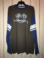 NFL Indianapolis Colts T Shirt Jersy Long Sleeve Mens XL Grey Blue