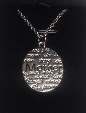 Silver Oval Engraved Necklace Mothers Day Gift- Includes Velvet Gift Box