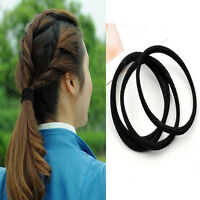 10pcs Black Practical Rope Elastics Hair Ties 4mm Thick Hairbands Hair Bands