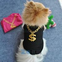 Small Pet Dogs Cat Vest Clothes Gold Necklace Sleeveless Tee Shirt Size XS S M L