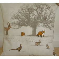 """14"""" Cushion Cover Fox Squirrel Stag Pheasant Owl Rabbits Tree Stags Woodland"""