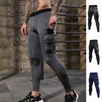 Men's Compression Pants Workout Leggings Gym Basketball Hiking with Side Pocket