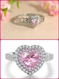 Women Fashion Heart Pink White Topaz Gemstone Silver Plated Ring