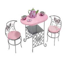 Badger Basket Tea Time Metal Conjunto de mesa y silla de la Muñeca con Accesorios-Plata/