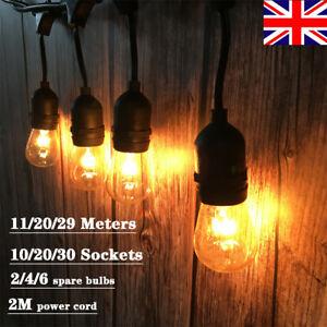 10/20/30 Pcs E27 Lights Connectable Outdoor Festoon Pergola String Light Chain