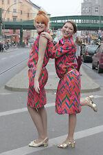 Damen Kleid bunt pink colorful grün green 70er True VINTAGE 70s women longsleeve