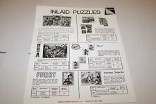 Vintage WARREN PAPER PRODUCTS - INLAID PUZZLES ad sheet #0231